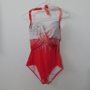 NEW ZIngara red white ombre embellished one piece
